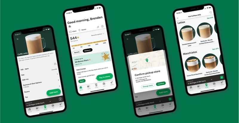 Ứng dụng Starbucks mang những nét đặc trưng nhất của thương hiệu như màu chủ đạo, logo, slogan hay tagline…