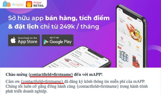 Email marketing cá nhân hóa của mAPP